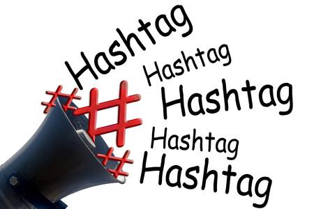 Megaphone and symbol # hashtag # red on white background. Stock Photo