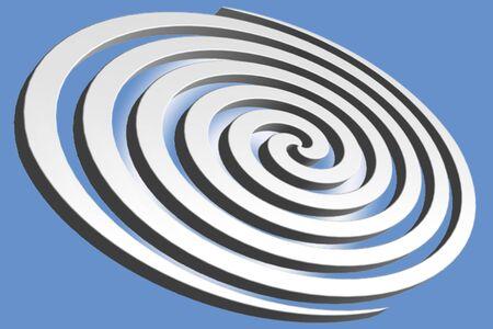 연한 파랑 그라데이션 배경에 대해 달팽이 바람에 추상 나선형.