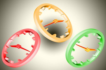 Clock with clock hands and dial, symbol in 3 D as illustration before gradient background.