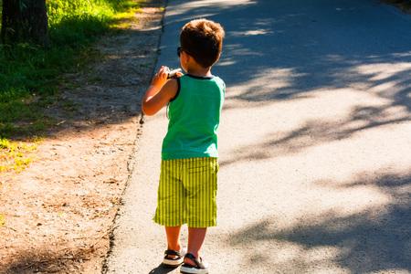 Little boy has fun with the old digital camera Stok Fotoğraf