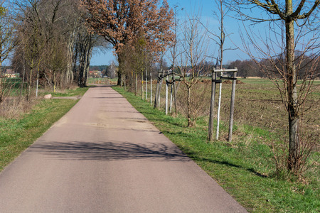 Road between the village Meinsdorf and the village Mühlstedt in Saxony Anhalt, Germany. Stock Photo