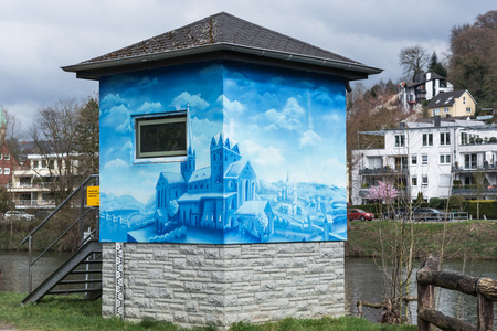 depth measurement: Essen, Germany - April 04, 2016: Water level monitoring station in Essen-Werden Germany. One of around 50 level monitoring stations that measure the water level of the Ruhr.