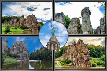 Travel picture Collage or postcard Externstein, Hermannsdenkmal