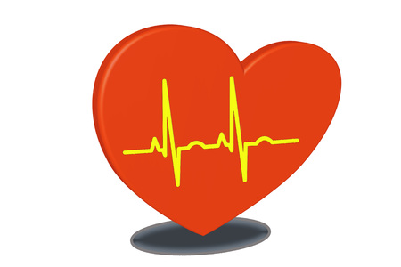 Red heart on a white background. Pulse rate chart. Electrocardiogram. Prevention of heart disease as a 3D rendering.