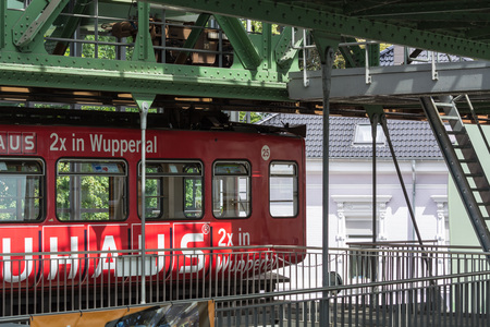 WUPPERTAL; NRW; GERMANY - JULY 31; 2017: Suspension railway station Wuppertal Vohwinkel.The elevated railway is used for public transport. Redakční