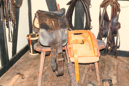 View in an old traditional horse saddle workshop