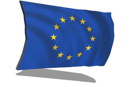 EU flag in 3D on white background