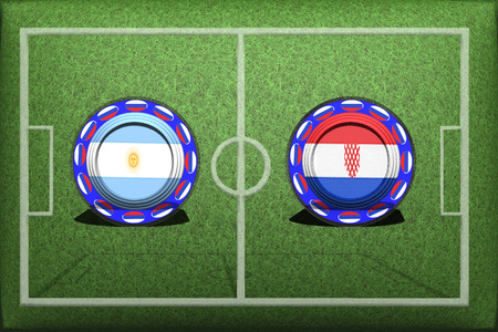 Football, World Cup 2018, Game Group D, Argentina - Croatia, Thursday, June 21, Button with national flags on the green grass.