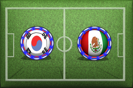 Football, Game Group F, South Korea Mexico, Saturday, June 23, Button with national flags on the green grass.