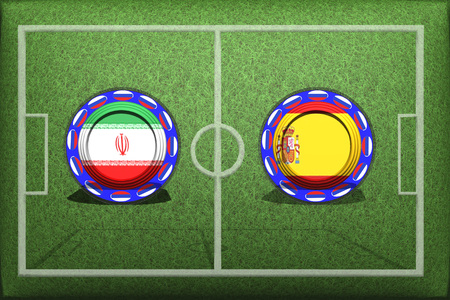 Football, World Cup 2018, Game Group B, Iran - Spain, Wednesday, June 20, Button with national flags on the green grass