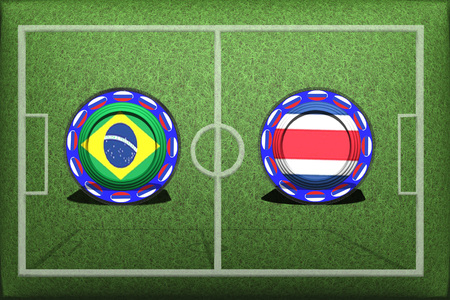 Football, World Cup 2018, game Group E, Brazil - Costa Rica, Friday, June 22, Button with national flags on the green grass.