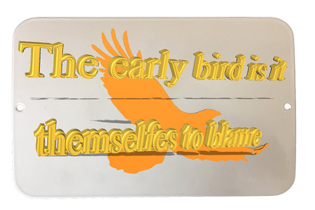Old rusted tin sign enamelled with caption in English