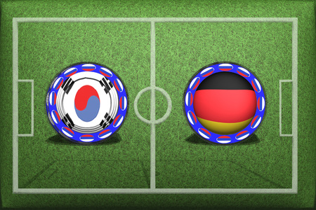 Football Game Group F, South Korea Germany, Wednesday, June 27, Button with national flags on the green grass.