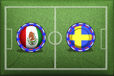 Football Game Group F, Mexico Sweden, Wednesday, June 27, Button with national flags on the green grass.