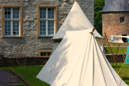 Reconstruction of a tent city, tent camp of the Middle Ages