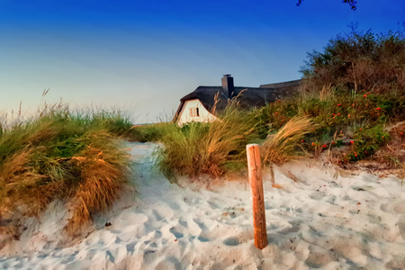 Thatched houses in Zingst at the Baltic Sea, Mecklenburg-Vorpommern, Germany