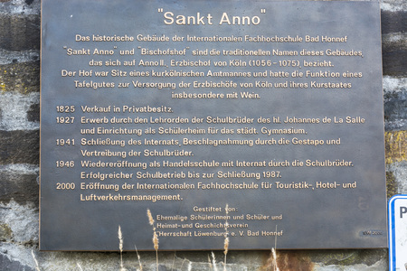 BAD HONNEF, GERMANY - MARCH 27, 2016: Memorial plaque at the former school St Anno school brothers in Bad Honnef in Germany on the Rhine.