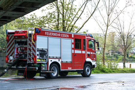 ESSEN KETTWIG, NRW, GERMANY - APRIL 28, 2016: Fire fighter trainer use in Essen Kettwig, Germany. Firefighters in Uniform during training. Editorial
