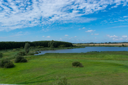 Panoramic view of the swimming, fishing and nature area Eixen lake. Shot from the lookout tower 스톡 콘텐츠