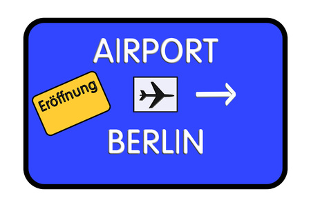 Germany Airport Highway Road Sign 3D Illustration 版權商用圖片