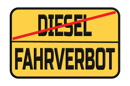 Driving traffic signs for diesel cars in Germany. Diesel Interdiction symbol