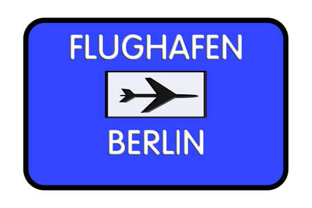 Berlin Germany Airport Highway Road Sign 3D Illustration