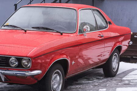 VELBERT, NRW, GERMANY - MARCH 07, 2016: Vintage car, red Opel Manta at a public parking in Velbert, Germany.