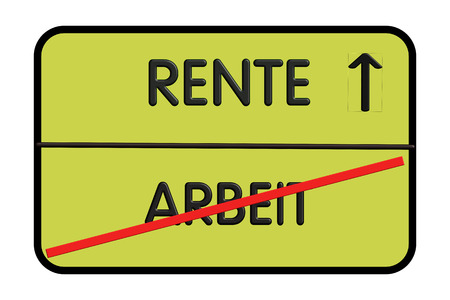 City entrance road sign with inscription in german - work and pension (work and pension) Stok Fotoğraf