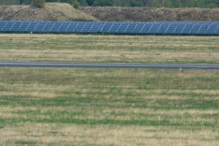Panorama of the solar system of Weeze Airport. The airport uses huge solar parks to cover its own energy consumption.