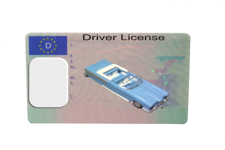 Driving license identity card isolated. Plastic ticket of flat driver license in Germany Zdjęcie Seryjne