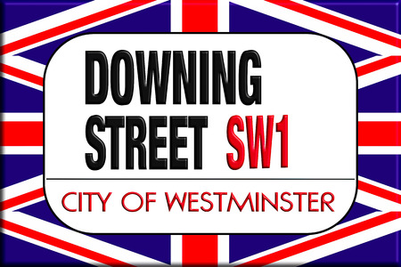 Downing street sign in the background of the Union Jack 版權商用圖片