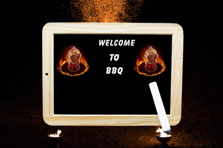 Sign with inscription in English - Welcome to the barbecue party