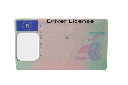 Driving license identity card isolated. Plastic ticket of flat driver license in Germany Stock Photo