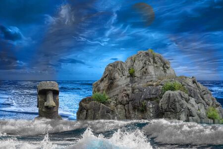 Abstract photomontage the rocks of the Externsteine flooded in stormy sea in front of dramatic sky.