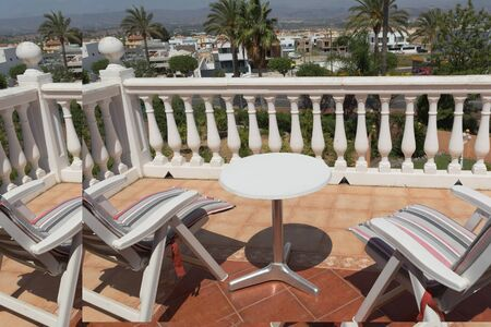 Beautiful seascape, view from the stone balustrade on sunny summer day. Element of design. Archivio Fotografico