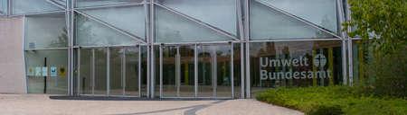 DESSAU - AUGUST 05, 2018: Environment, glass facade and entrance area of the Federal Environmental Agency in Dessau Redakční