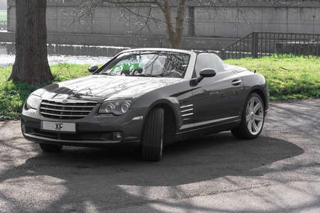 MOSEL, GERMANY - MARCH 26, 2016: Chrysler Crossfire Roadster in a parking lot in Germany on the Mosel.