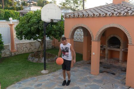 Basketball player training on the court. concept about basketbal