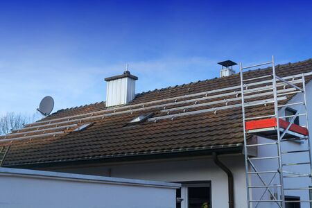 Photovoltaic system, solar panels are mounted on the roof