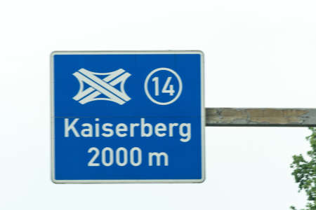 Highway sign, directional sign on the motorway at Highway crossing Kaiserberg.