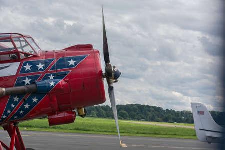 Vintage biplane propeller aircraft Antonov AN