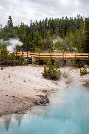 Norris geyser basin and the landscape nature in Yellowstone national park in Wyoming , United States of America Imagens