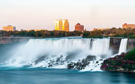 Niagara Falls on Canada side before sunset with clear sky , Niagara , Canada Editorial