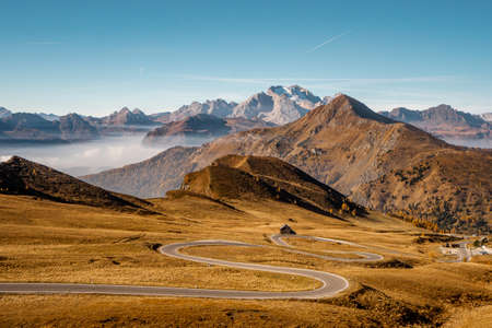 Nice view  from Passo Giau nature landscape in Dolomites . The Scenic road  in northern part of Italian Alps during autumn Banco de Imagens