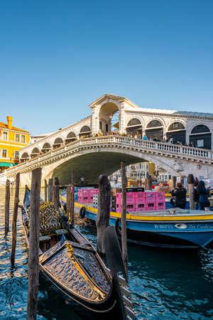 View of Rialto bridge locate in grand canal late morning before autumn season in Venice, Italy Editorial