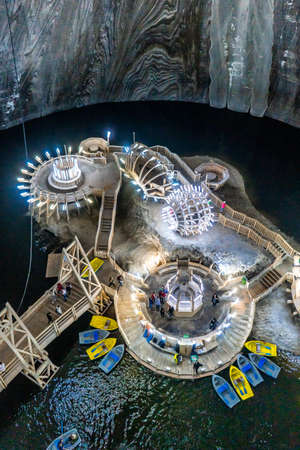 Salina Turda . One of the most awesome underground place on earth . Recently is fun park with many activities and used to be Salt mine in the past , Turda , Cluj County , Romania
