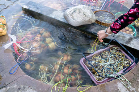 Eggs boiling in natural hot spring basin.