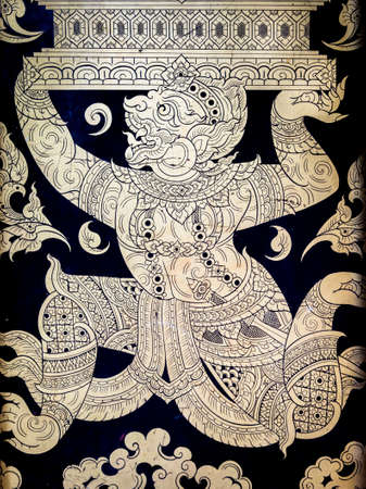 traditonal: Ancient and Traditional Thai painting on a wooden door of a Thai temple.