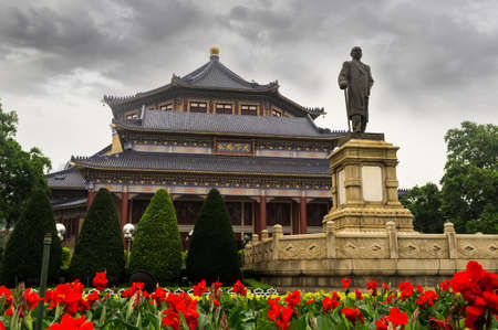 communists: Guangzhou, China, July 3,  2013 - Sun Yat-sen memorial hall and statue funded by non-government.