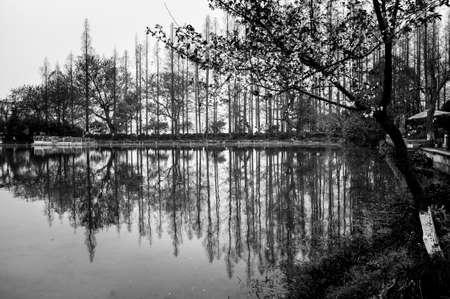Chinese park at West Lake of Hangzhou. photo